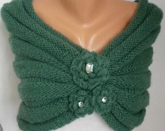 Green Wedding Shawl, Bridal Capelet, Knit Infinity Scarf,Wedding Wrap,Formal Bolero,Shrug, Gift Ideas for her Women's Fashion Accessories