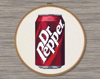 Dr Pepper Can - Vintage Design - PDF Cross Stitch Pattern
