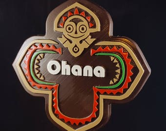 Polynesian Themed Longhouse Sign / Plaque - Ohana (New Bungalow Style Disney Inspired Prop Replica)