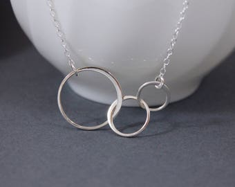 Three Circle Necklace Sterling Silver | Three Eternity Circle Necklace | Triple Circle Necklace | Entwined Circle | Gift for Mother Daughter