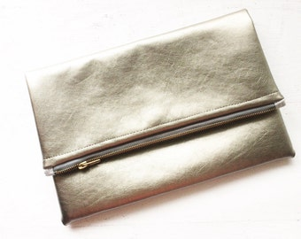 Faux Leather Metallic Gunmetal Foldover Clutch - Gift for her, Birthday, Anniversary, Bridesmaid