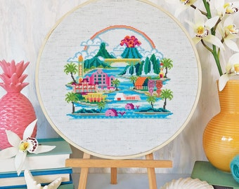 Pretty Little Hawaii - Satsuma Street Modern Cross Stitch Pattern PDF - Instant download