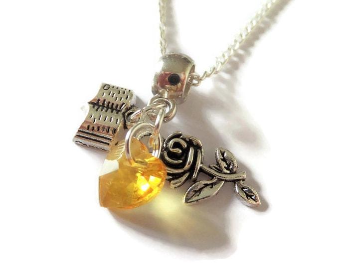 belle necklace, princess necklace, rose necklace, book necklace, princess party, princess favors, princess gift, belle gift, sandykissesuk