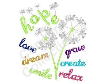 Dandelion Flower Machine Embroidery Design