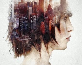 Urban Thoughts a Surreal Study digital art signed premium quality giclée print