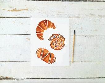 Instant Digital Download | French Pastries | Art Print | Croissant | Pain au Chocolate | Pain au Raisin | Watercolour Painting