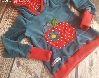 Hooded pullover petrol Nicki Apple WaldorfHoodie, kids, hood, apple shirt, sale, Waldorf sweater, baby, petrol, apple, red, points