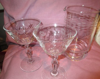 Mid century martini/manhatten glasses with serving carafe