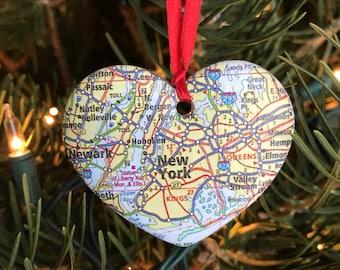 New York Map Ornament
