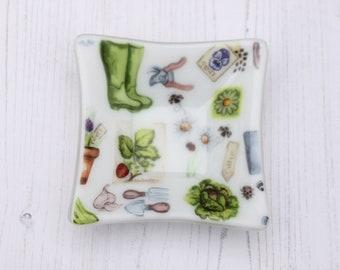 Gardening Decorative Dish ~ Gift for Gardener Ornamental ~ Trinket Sweet Fused Glass Art ~ Home Decor ~ Seeds, Flowers, Herbs