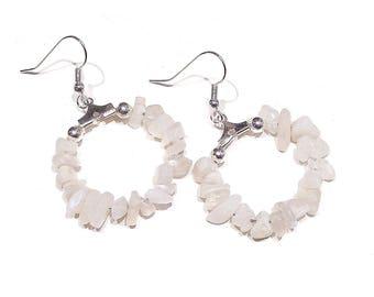 Gemstone Chip Hoop Earrings 25mm - Moonstone