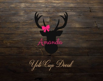 Yeti Cup Decal, Monogram Decal, Personalized Sticker, Men Cup Decal, Buck Deer, Girly, RTIC Cup Sticker, Tumbler,Personalized Monogram Decal