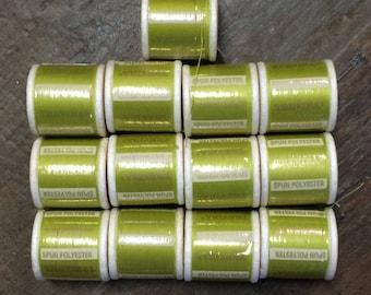 12 Green Thread / Vintage Green Thread Lot / Green Thread Lot / Thread Lot / Green Polyester Thread Lot