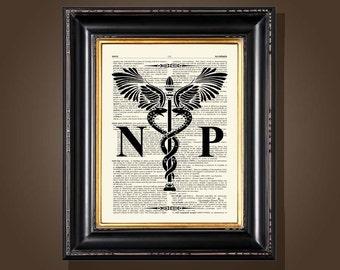 "Vintage Nurse Practitioner - Caduceus, '8.5""x11"", Medical Art Decor, Nurse Practitioner graduation gift, NP certification print"