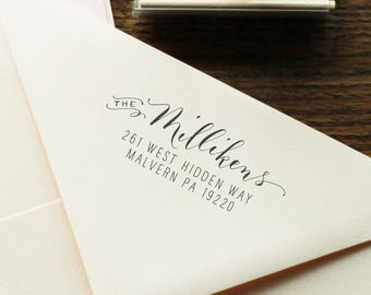 Handwritten Calligraphy Return Address Stamp - Mixed Calligraphy and type Custom Stamp - Chic Modèrne Style - Wood or Self ink address stamp