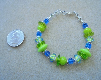 Bright Lime Green, Blue, and Sterling Silver Lampwork and Furnace Glass Beaded Bracelet - Handmade
