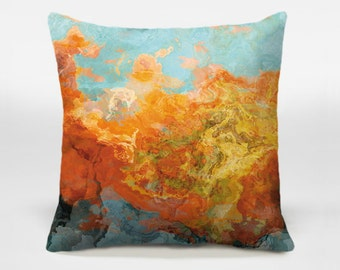 Toss pillow cover with abstract art, 16x16 and 18x18 orange decorative pillow cover, accent pillow cover, Electric Illusion