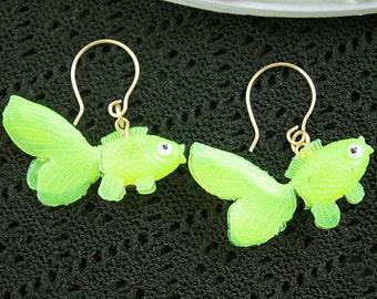 Baumelnde Goldfisch Ohrringe cute Kawaii Kitsch Lolita gelber Fisch