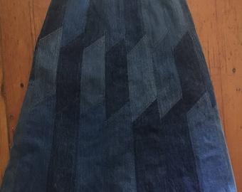 Vintage 1970s denim patchwork skirt.