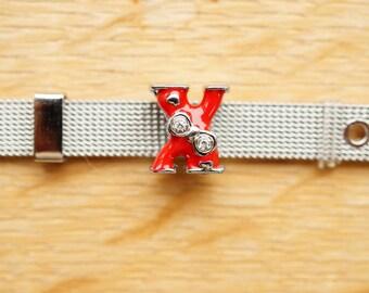bead letter alphabet red X bow width bracelet