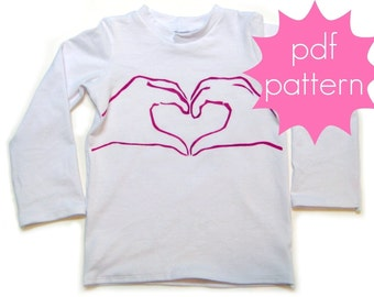NEW - Classic Knit Tee PDF Sewing Pattern - short, 3/4, long sleeve options - nb-5t or 6-14, and doll