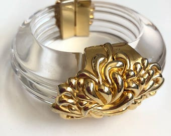 Lucite Resin ooak Runway Gold Bangle Cuff Couture