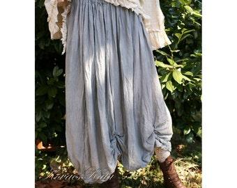"""Bohemian """"Rachel"""" Hand Dyed Tattered Linen Skirt  OOAK"""