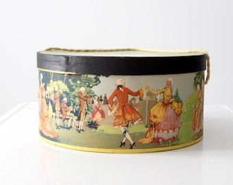 vintage hat box, French court scene, Lucille Tunison Hat Studio box