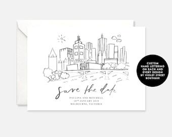 Printable Melbourne Save The Date, Wedding Invitation, Black White Wedding, Monochrome Wedding Invite, Invitation, Modern Wedding Invitation
