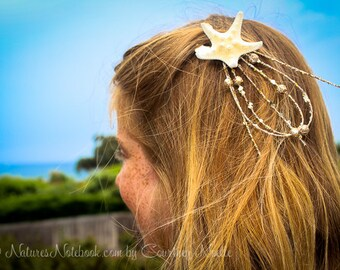 Starfish Hair Clip, Unique Design -Stocking Stuffer - Mermaid Hair Accessory- Beach Themed Birthday party - Coastal Christmas - Beach Bridal