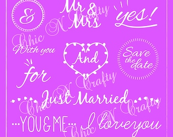 Wedding Words Overlays, Clip Art, Digital Clipart, Digital Download