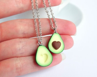 Green avocado bff friendship necklace pendant heart pit Valentines love bff gift bb present necklace best friend healthy food miniature