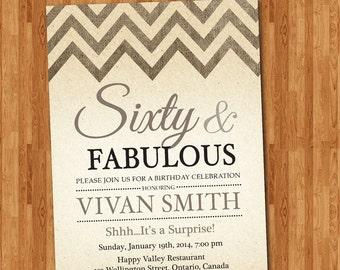 60th birthday invitation women. Sixty and fabulous. Burlap Chevron. Vintage Background. Kraft Paper.. Printable digital DIY. Personalized.