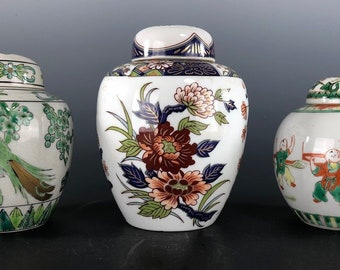 Chinese Ginger Jars Elaborate Decoration Gilding Peonies Birds Vintage Lot of 3