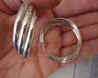 Poinçons argent massif Triple boucles d'oreilles, boucles Post, 40mm, 16 grammes