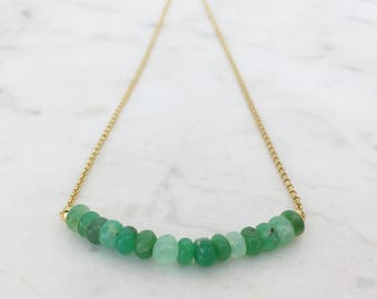 Australian chrysoprase necklace, Chrysoprase jewelry, apple green gemstone bead necklace, green stone bar necklace with gold vermeil chain