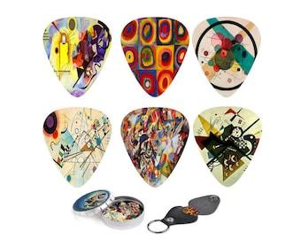 Art Guitar Picks - Abstract Guitar Art - Wassily Kandinsky Picks. Christmas Gift 12 Medium Picks, Leather Picks Holder. Best Guitarist Gift