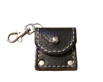 Guitar Pick Case Holder Full-grain Leather Keychain, Pick Case, Pick Holder