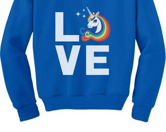 I Love Unicorns - Magical Gift Children Rainbow Unicorn Toddler/Kids Sweatshirt