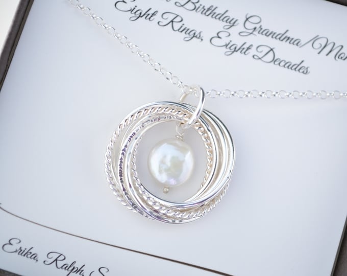 80th Birthday gift for mom and grandma necklace, June birthstone necklace, 8 Anniversary gift for wife, Pearl necklace,