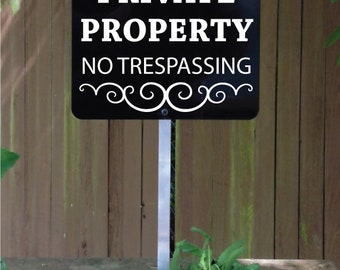 Private Property No Trespassing Yard Sign for home or business.