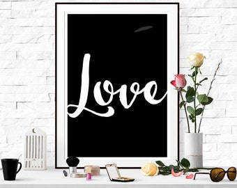 """Black and white printable """"LOVE"""" Typography Home Decor Motivational Poster Wall Art"""