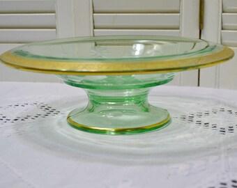 Vintage Green Glass Footed Bowl Etched Floral Design Gold Rim Centerpiece Fruit Bowl Panchosporch