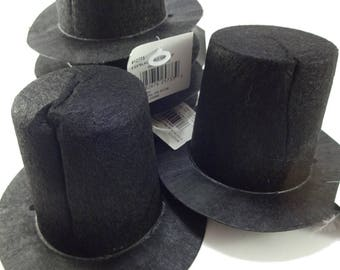 CREASED Black Mini Flocked Felt Stovepipe Top Hats - 6 PACK