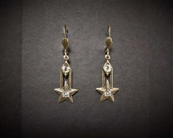 Rhinestone Star Earrings Antiqued Brass Celestial Victorian FREE SHIPPING USA
