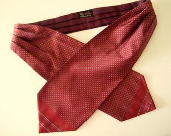 Vintage red Ascot wedding cravat tie Cravateur handmade Ascot ceremonial dandy necktie silky pin dot neckband groomsmen cravat  groom  tie