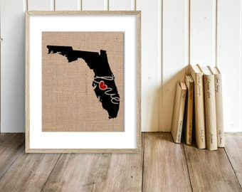 """FLorida (FL) """"Love"""" or """"Home"""" Burlap or Canvas Paper State Silhouette Wall Art Print / Home Decor (Free Shipping)"""