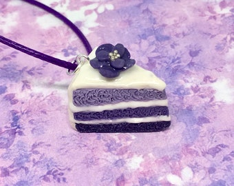 Polymer Clay Cake Necklace - Purple Ombre Cake - Bakery Jewelry - Handcrafted Clay Charm Necklace - Cute Clay Food Jewelry - Sweet Dessert