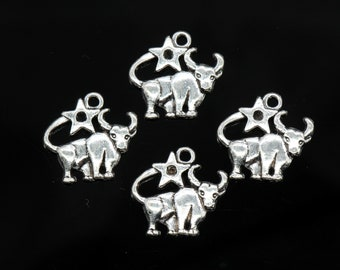 4 Pcs Taurus Charms Antique Silver Tone 21x21mm