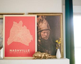 NASHVILLE Map. Screen Print Poster. Neighborhood Map. Modern Home Decor Print. Nashville Tennessee Art Poster. Multiple Colors.